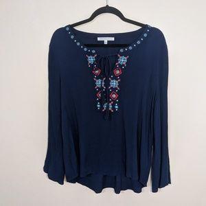 Daniel Rainn Embroidered Navy Blue Blouse | Sz M